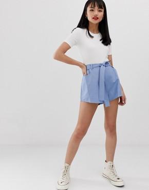 Glamorous Petite smart shorts with tie belt