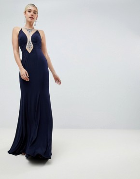 Jovani Cut Out Maxi Dress - Navy