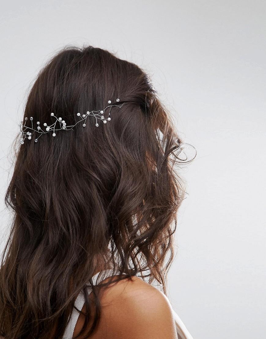 ASOS BRIDAL Fine Wire Faux Pearl Back Hair Crown - Cream