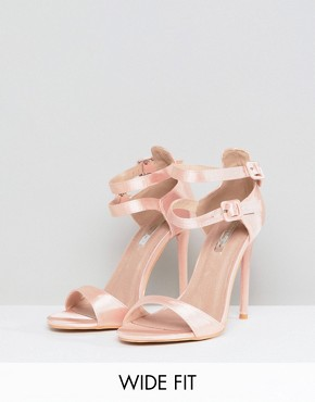 Lost Ink Wide Fit Satin Barely There Sandals