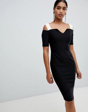 Vesper bardot short sleeve midi dress - Black/ cream