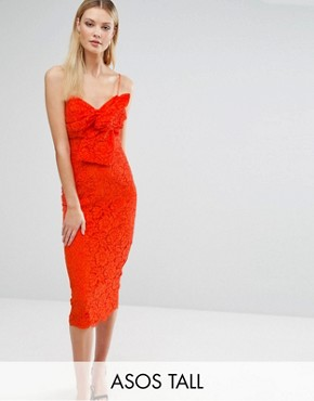 ASOS TALL Lace Cami Bow Front Midi Pencil Dress - Orange