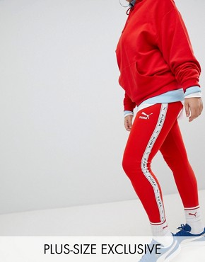 Puma Exclusive To ASOS Plus Taped Side Stripe Leggings In Red - Fiery red