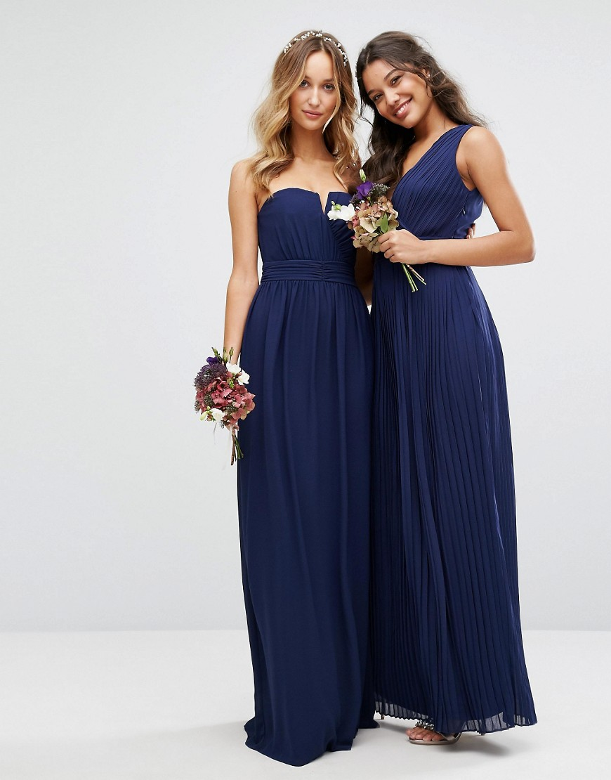 Image 4 of TFNC WEDDING Pleated Wrap Maxi Dress