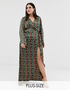 PrettyLittleThing Plus tie side wrap front maxi dress in green chevron print