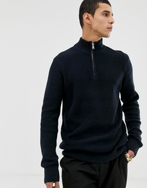 Kiomi knitted jumper with half zip funnel neck in navy