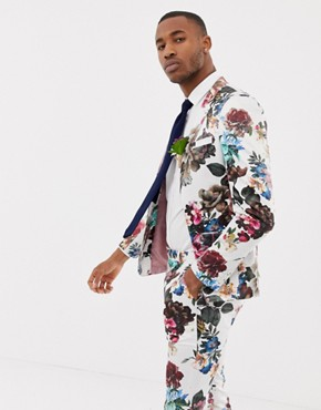 ASOS DESIGN wedding skinny suit jacket with floral print - White