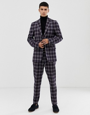 United Colors Of Benetton slim fit suit jacket with stretch in navy check print - Navy