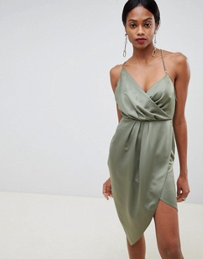 ASOS DESIGN satin wrap dress with chain back - Khaki