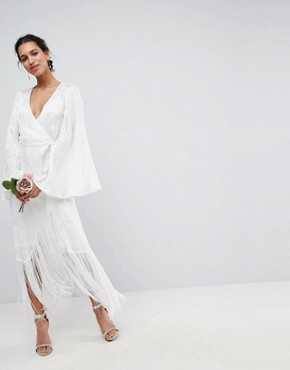 ASOS EDITION Fringe Wrap Wedding Maxi Dress - White