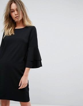 Vero Moda Frill Sleeve Shift Dress - Black