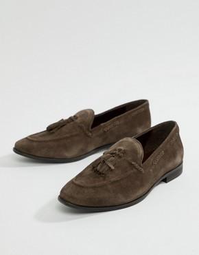 KG By Kurt Geiger Tassel Loafers In Brown Suede - Brown