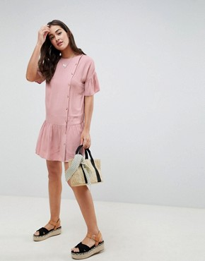 ASOS DESIGN button through pephem mini dress with buttons - Pink