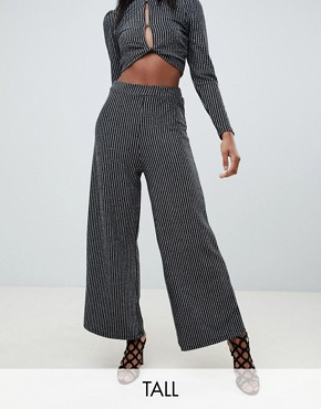 Fashion Union Tall wide leg shimmer trousers co-ord - Black/silver
