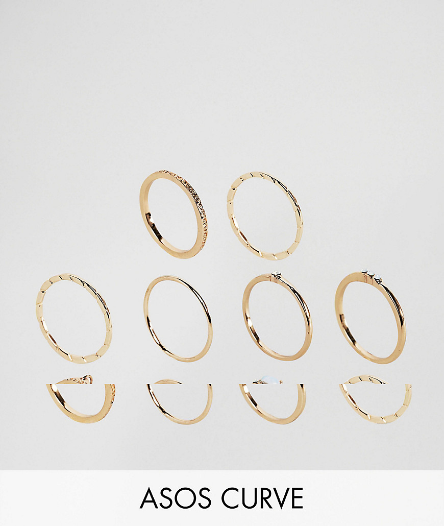 ASOS CURVE Exclusive Pack of 10 Engraved Disc & Stone Rings - Gold