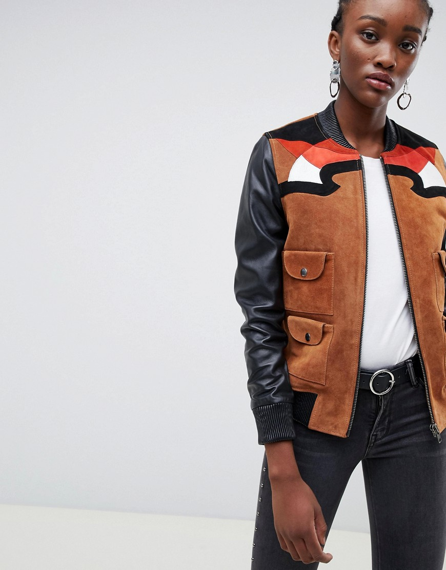 MUUBAA Rodeo Western Suede And Leather Bomber Jacket - Brown