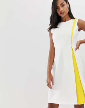 Vesper a line dress with insert in white and yellow