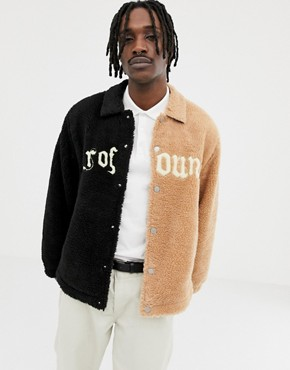 Profound Aesthetic split faux shearling jacket with embroidered logo in black