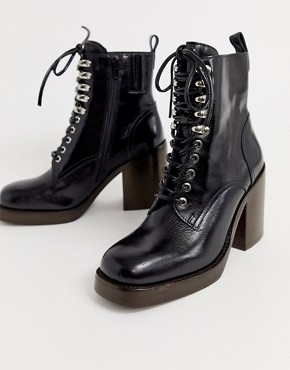 Jeffrey Campbell Dotti leather lace up heel boot
