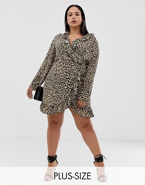PrettyLittleThing Plus wrap frill mini dress in leopard