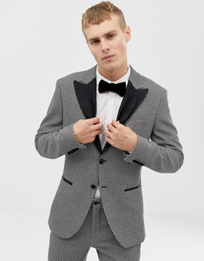 Jack & Jones Premium slim fit tuxedo blazer with velvet lapel in grey black - Black