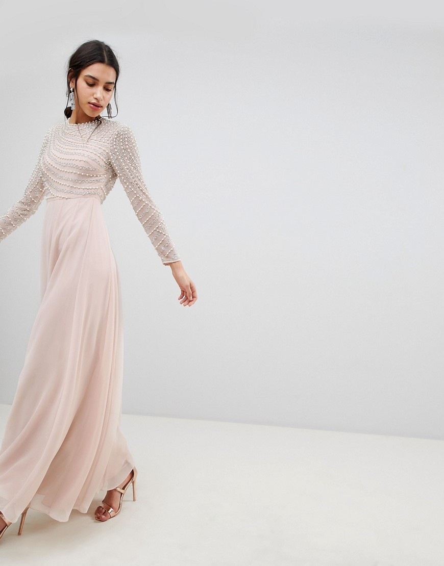 Product photo of Asos design premium pearl embellished long sleeve maxi dress nude