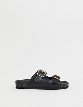 London Rebel Double buckle flat sandals