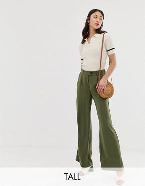 Vero Moda Tall wideleg trousers in green