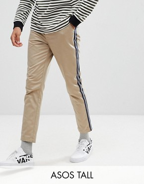ASOS DESIGN Tall Tapered Cropped Heavyweight Trousers with Side Stripe In Stone - Stone