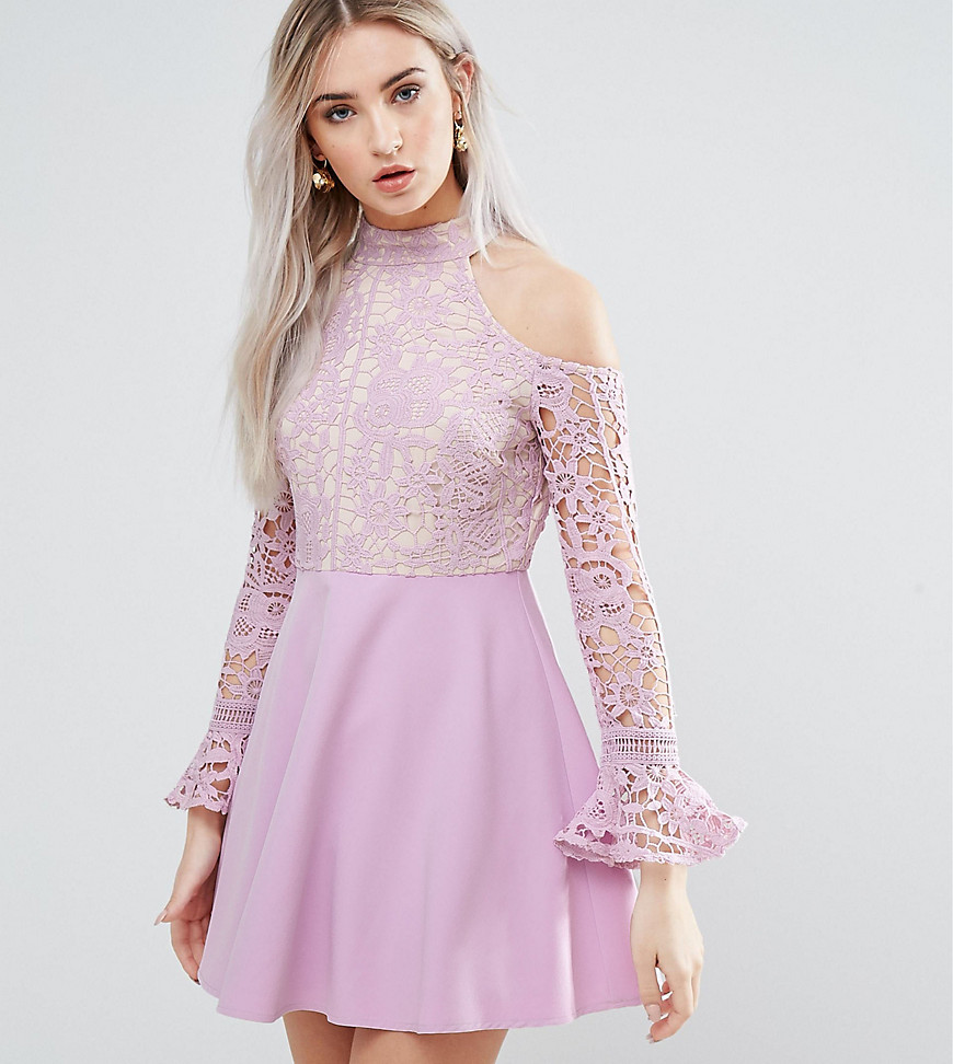 Missguided Petite Cold Shoulder Lace Skater Dress