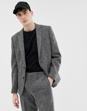 Noak slim fit harris tweed suit jacket in grey