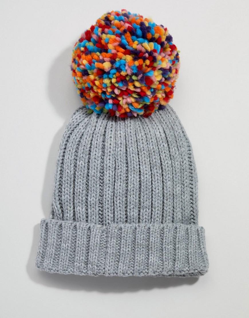 Cappello Grigio donna Berretto lavorato a maglia con pompom multi colorato Grigio Brave Soul