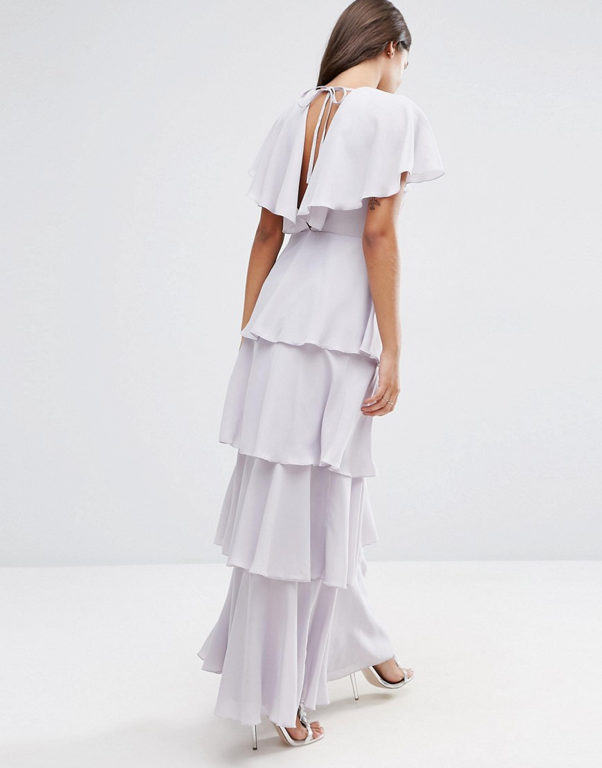 Image 2 of ASOS Cape Layered Ruffle Front Maxi Dress