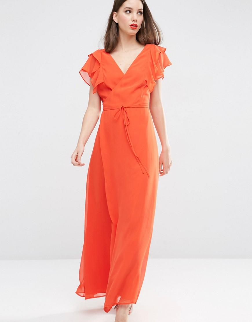 Image 1 ofASOS Frill Wrap Maxi Dress