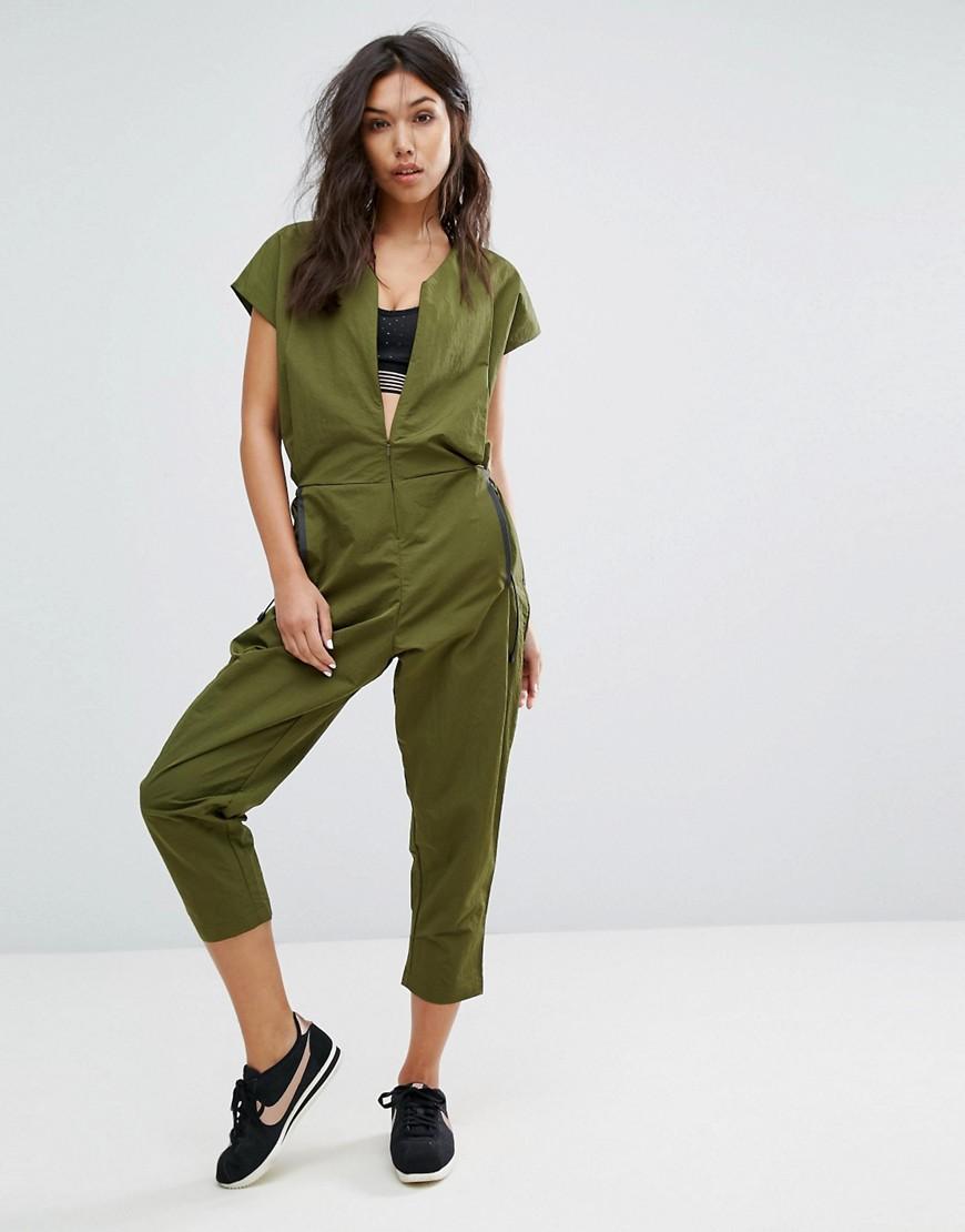 Nike Woven Jumpsuit In Khaki