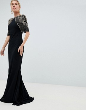 Jovani Maxi Dress With Embellished Cape - Black