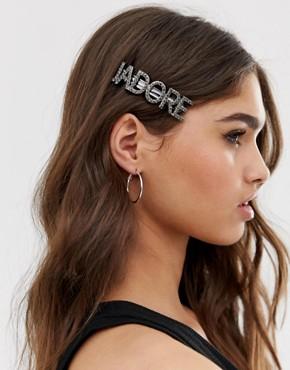 DesignB London J'adore diamante hair clip