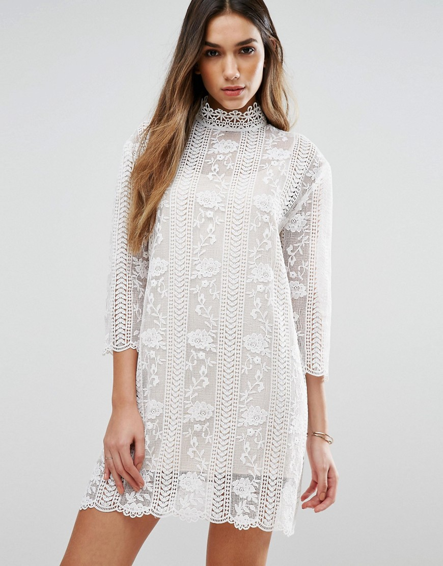Jovonna Table Maner High Neck Lace Dress