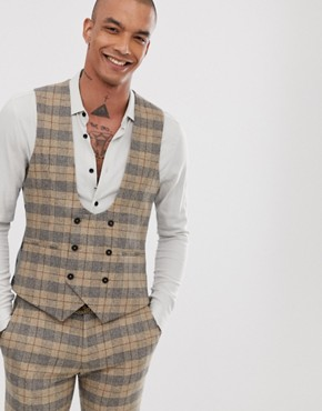 Twisted Tailor super skinny waistcoat in heritage check