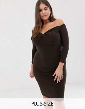 PrettyLittleThing Plus slinky sweatheart midi dress in chocolate