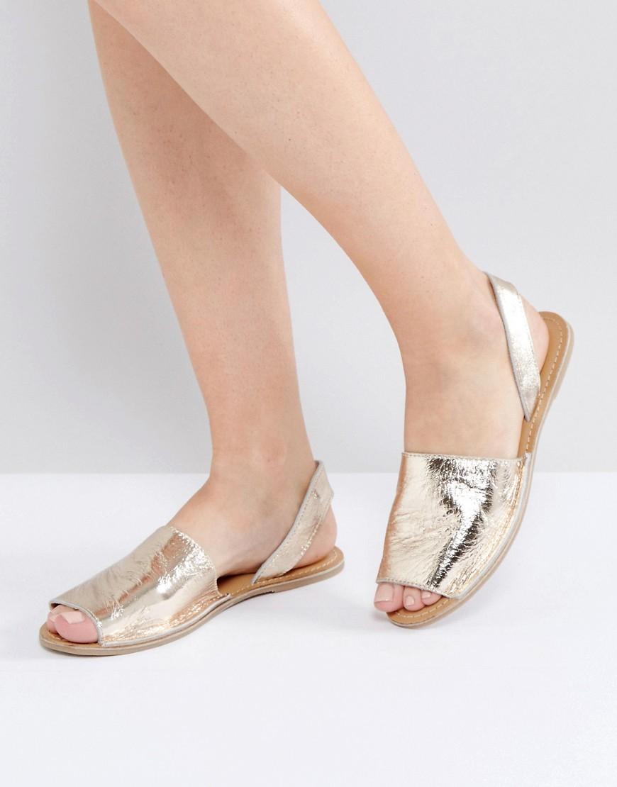 Sandalo Oro donna Warehouse - Sandali in due parti con cinturino posteriore - Oro