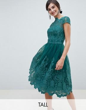 Chi Chi London Tall premium bardot midi prom dress in green