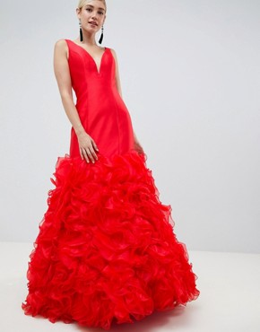 Jovani 3D Fishtail Maxi Dress - Red