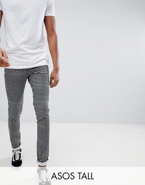 ASOS TALL Skinny Trousers In Monochrome Check - Black