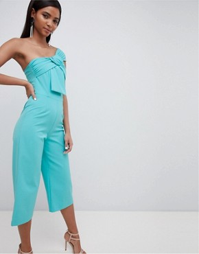 Lavish Alice twisted one shoulder wide leg culotte jumpsuit - Turquoise
