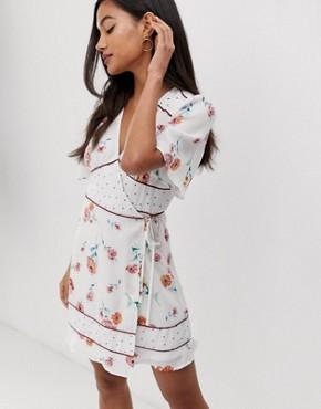 Fashion Union wrap dress with contrast print panels