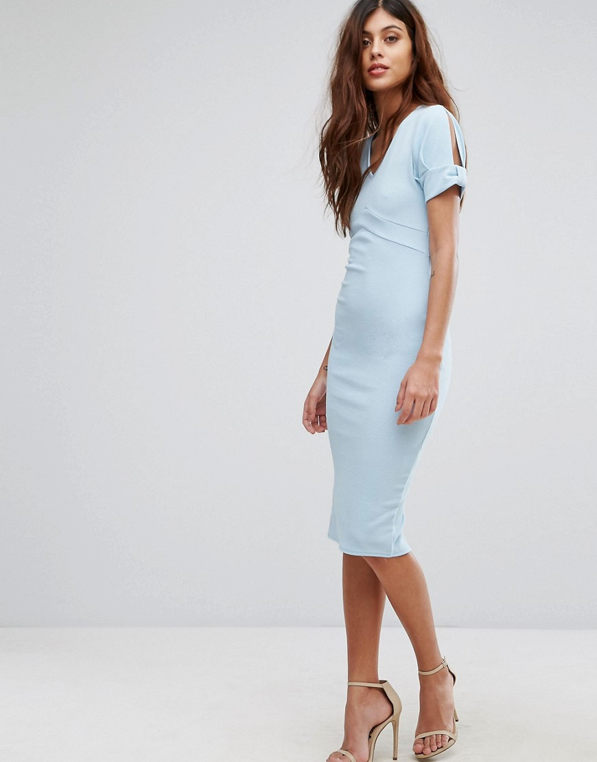 Be Jealous Pencil Midi Dress With Capped Sleeves