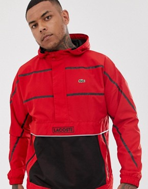 Lacoste Sport hooded overhead logo jacket in red