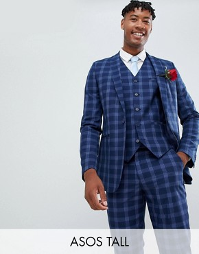 ASOS DESIGN Tall wedding skinny suit jacket in tonal blue check - Blue