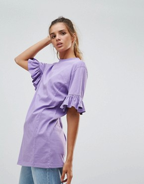 Chorus Frill Sleeve Jersey Top - Lavender